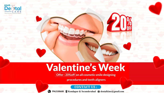 Kims dental hospital is giving best Valentines Day offers in kondapur, secunderabad